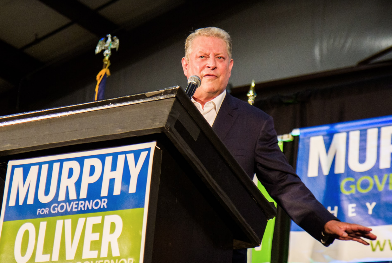 Former Vice President Al Gore speaks to a Monmouth County crowd on Oct. 15